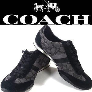 💖10b Coach Shoes Kelson Sneakers in Black Suede